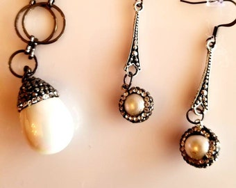 Statement Necklace. Acorn white marble, Pendant Necklace. Gun metal chain. Dangling earrings. white pearl earrings.