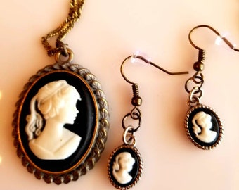 Black Pendant. White Victorian Woman. Victorian Woman Pendant Necklace. Black Victorian Earrings. white Victorian Earrings (SKU #UV2P516)