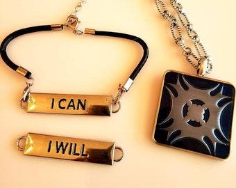 Men's Square Pendant Necklace.  Navy. Baby blue Marble. Metal back.  Changeable Bracelet. I Will Bracelet. I Can Bracelet.  (SKU #UVM106)