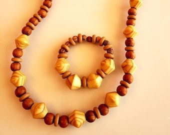 Men's Biege and Light Brown Wood Beaded Necklace with matching bracelet.(SKU# UVM2P900)