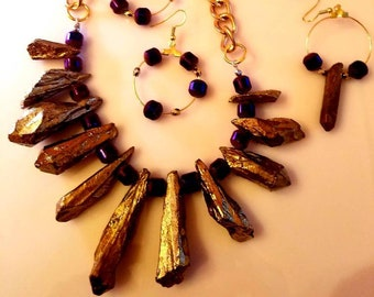 Gold precious stone Necklace. Gold Chain. Purple accent beads. Gold Hoop Earrings. Gold Precious stone earrings. (SKU #UV3P825)