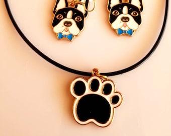 Dog Lover's. Black and White Dog Paw Pendant. Black Rope Necklace. Dog Head black and white Earrings (SKU #UV2P515)