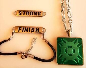 Men's Square Pendant Necklace.  Forrest Green, Mint Green. Metal back. Changeable Bracelet. I Will Bracelet. I Can Bracelet.  (SKU #UVM250)