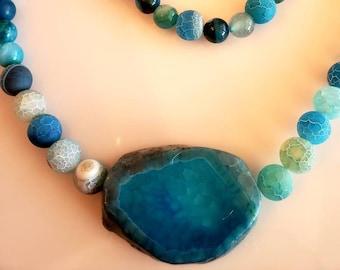 Men's Pendant Necklace. Aqua Blue  Necklace. Marble Stone Necklace. Aqua Beads Bracelet. Blue Beads Bracelet (SKU #UV2M450)