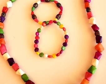 Men's Beaded Stone Necklace. Copper, yellow, fuchsia, red beads. white, green, red, yellow fuchsia bracelets  (SKU #UV3M222)