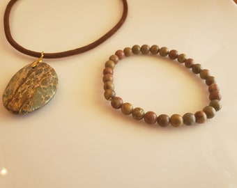 men's beige, brown, green stone large bead pendant brown suede necklace; brown, beige, green beaded bracelet (SKU# UV2PM1001)