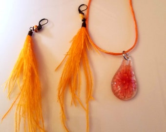 Orange Glass Tear drop. Orange Pendant Necklace. Orange Necklace.  Orange Feather  Earrings. Orange Bead Earrings.  (SKU#UV2P820)