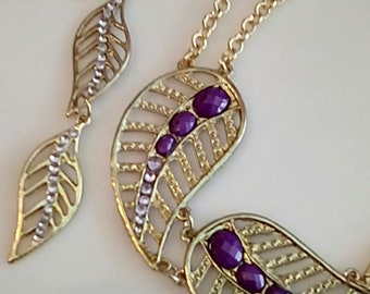 Purple Clear Crystals leaf Necklace. Double Gold chain necklace. Gold Crystal double Leaf Earrings.  (SKU #UVF2PP718)