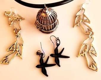 Silver Bird Cage Pendant. Thick Black Rope Necklace.  Double Dove Dangling Earrings. Black Dove Earrings. (SKU #UV3P710)