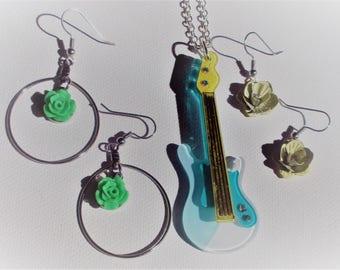 Green, turquoise and yellow Guitar Necklace and 2 pair of Earrings (SKU #)UVY3P102