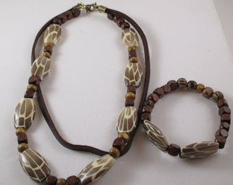 Men's Beaded Layered Beaded Necklace Brown, Cream and Beige and Matching Bracelet Handmade (SKU #UVM104)