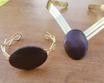 Wine gold V shaped choker;  large oval wine bead; woven gold metal bracelet with wine oval bead (UV2P1011)
