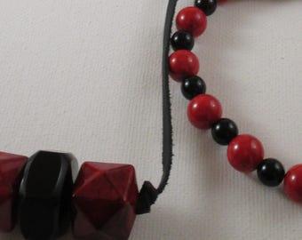 Men's Beaded Red and Black Necklace and Bracelet (SKU #UVM102)