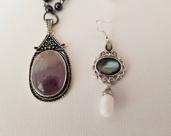 Antique silver with round glass gray pendant Necklace and Earrings (SKU #UVF2PP202)
