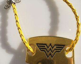 Wonder woman gold yellow nylon necklace; matching gold yellow nylon bracelet (SKU# UV2PY1001)