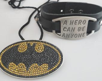 Batman gold and black pendant, black rope necklace; black bracelet, Hero pendant  (SKU# UV2PY1004)