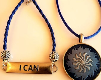 Men's Round Pendant Necklace.  Navy. Baby blue Marble. Metal back.  Changeable Bracelet. I Will Bracelet. I Can Bracelet.   (SKU #UVM231)