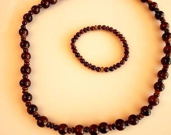 Men's Beaded Brown marble beaded Necklace and Bracelet (SKU #UV2M302))