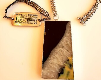 Men's Pendant Black, white, gray precious stone mental backed Necklace and Bracelet (SKU #UVM246)