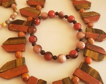 Men's rust red brown stone arrow point bead necklace; rust red, brown stone bead bracelet (SKU# UV2PM1001)