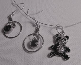 Teddy Bear Black and Silver Pendant Necklace and Earrings (SKU #UVY2P102)