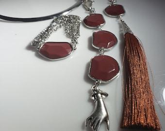 Brown, Silver hands, Cloud Shaped Brown Beads Silver Choker, Brown tassel hand earrings and brown cloud bead silver bracelet (SKU #UV3P1001)