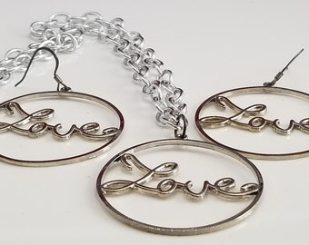 Trendy 2 piece Silver Love Rounds Necklace and Earrings (SKU #UV2P600)