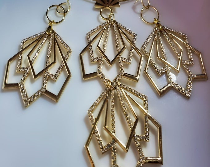 Featured listing image: Gold Crystal Fans Pendant on a Gold Choker; Gold Crystal dangling Earrings (SKU# UV2P4006)
