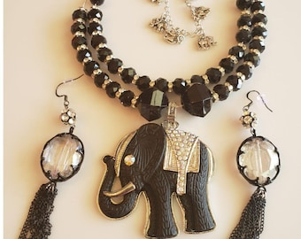 Layered Necklace.  Elephant Pendant. Black Silver Elephant Necklace. Dangling Tassel Earrings. Black chain tassels earrings (SKU #UVF2PP930)