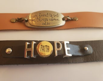 His and Her antique gold and silver inspiration; black brown leather bracelets (SKU# UV2PMF1003)