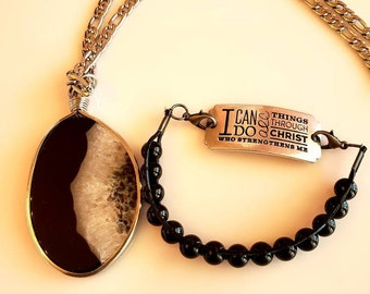 Men's Pendant Black, Gray and White Marble Stone Necklace and O can do all things Bracelet (SKU #UVM230)