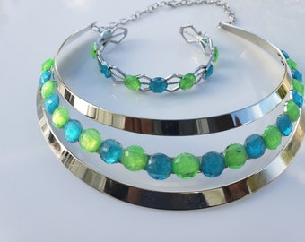 Baby blue, lime green crystals, silver choker. silver woven metal bracelet with baby blue and lime green crystals (SKU# UV2P1004)