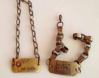 Men's copper necklace and bracelet (UVM2P703)