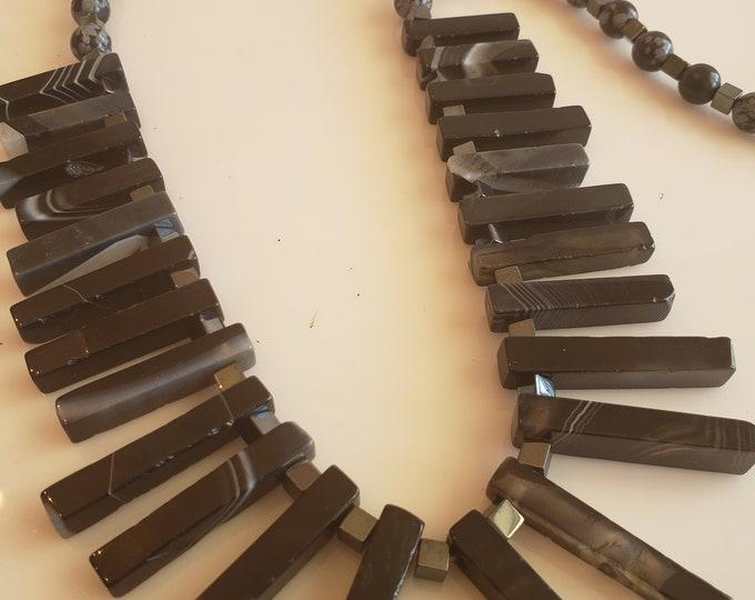 Featured listing image: Men's black piano key stones; black gray beaded necklace; black gray beaded bracelet (SKU# UV2PM1000)