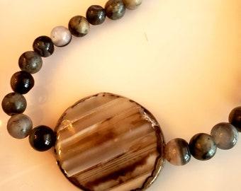 Men's Pendant Necklace. Brown Beige Necklace. Marble Stone Necklace. Brown Beads Bracelet. Beige Beads Bracelet  (SKU #UV2M313)