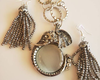 Gray and clear Elephant Pendant Necklace and  Earrings (SKU #UV2P891)
