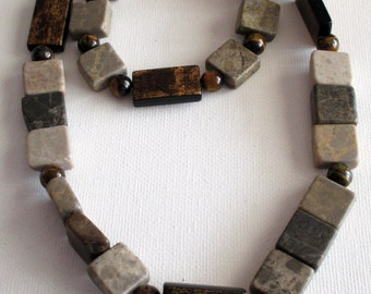 Men's Beaded Brown, Biege and Cream Marble stone necklace and bracelet (SKU #UVM109)