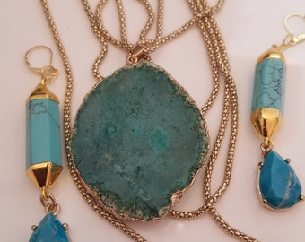 Turquoise Green, Gold Pendant Necklace, 3 layer chain. Turquoise Green, dangling, gold trim Earrings (SKU #UV3P510 )