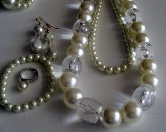 Pearl and Clear Chucky 3 Piece: Necklace, Bracelet and Pierced Earrings (SKU #UVF3PP125)