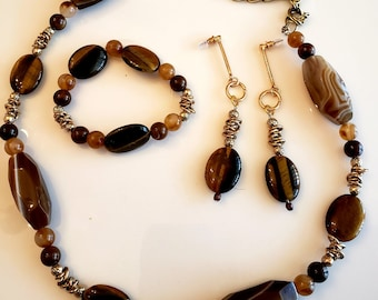 Beaded Necklace . Brown Gold Necklace. Dangling Brown Earrings. Brown Oval Bracelet. Bead Bracelet.  (SKU #UVF3PR920)