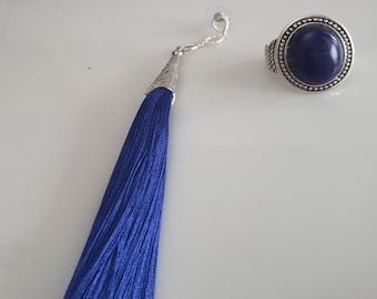 Royal Blue tassel, silver earring dangles; Royal blue oval bead ring silver dots trim (SKU #UV2P1012)
