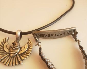 men's antique silver eagle black nylon necklace; never give up antique silver bracelet (SKU# UV2PM1002)