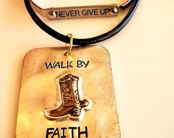 Men's Pendant Copper. antique gold boot. Walk By Faith Necklace. black rope necklace.  Never Give Up Copper Bracelet (SKU #UV2M305)