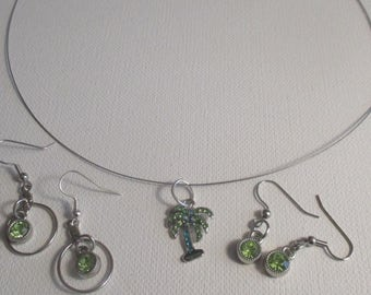 Bright Green and Sky Blue Cyrstal Palm Tree Pendant and 2 pair of Earrings (SKU #UVY3P105 )