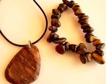 Men's Brown Beaded and Pendant Precious Stone Necklace and Bracelet (SKU #UV2M901)