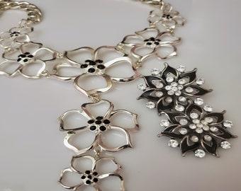 Black and Silver Cascading Flower pendant; Thick Silver link chain; Black silver flower clip earrings   (SKU# UV2P4007)