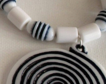 Men's Pendant White and Blue Necklace and Bracelet (SKU #UVM108)