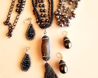 Charcoal Grey Acorn Pendant. Grey Necklace Strands. Grey Bead Bracelet. Grey Acorn Earrings. Grey Black Tear Drop Earrings (SKU #UV4P615)