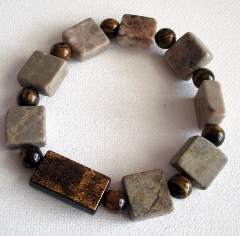SKU #UVM109 Biege and Cream Marble stone necklace and bracelet Men/'s Brown