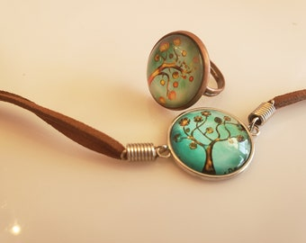 Youth green and black, tree bracelet; brown suede bracelet; green, black tree ring (SKU# UV2PY1005)